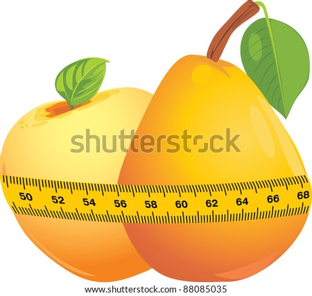 Apple and pear with measuring tape. Vector