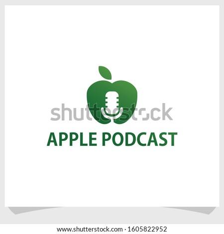 apple and podcast logo design template, technology logo design vector