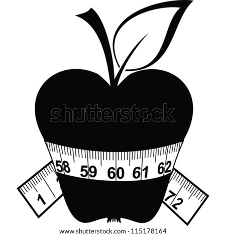 Apple and tape isolated on a white background. Vector Illustration