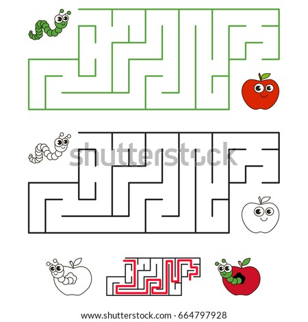 Apple and Worm Pest, the labyrinth simple horizontal maze for nerdy children. Search hidden way, the educational game for kids.