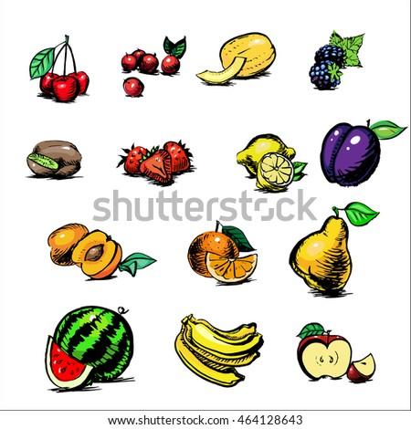 apple, blackberry, apricot, watermelon, banana, kiwi, orange, cantaloupe, cherries, strawberries, kgrusha, lemon, fruit and ovozi watercolor vector set of icons #464128643