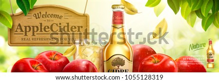 Apple cider ads, fruit beer with delicious apples in 3d illustration, natural bokeh background