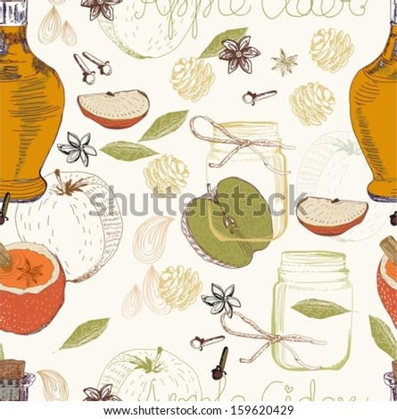 Apple Cider seamless background, traditional Xmas food, Vector - stock vector