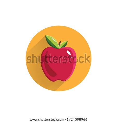 apple colorful flat icon with long shadow. red apple flat icon. apple. red apple