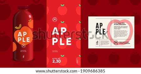 Apple. Flat vector illustration. Price tag, label, packaging and product poster. Label design template on a bottle. Minimalistic, modern label.