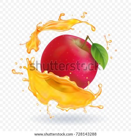 Apple fresh juice realistic illustration