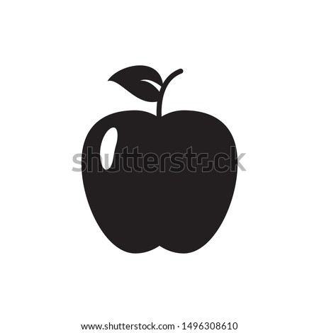 apple fruit icon flat simple