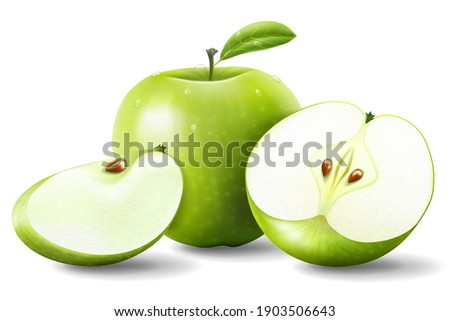 Apple. Green Apples with Green Leaves and Apple Slice - Vector Illustration. Realistic 3d vector