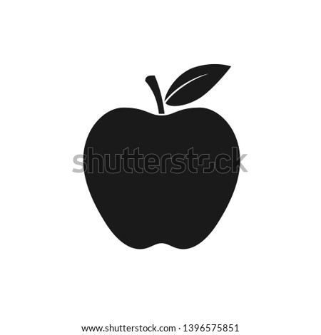 Apple Icon. Apple isolated black sign on white background. The symbol of the apple with a leaf. Vector illustration