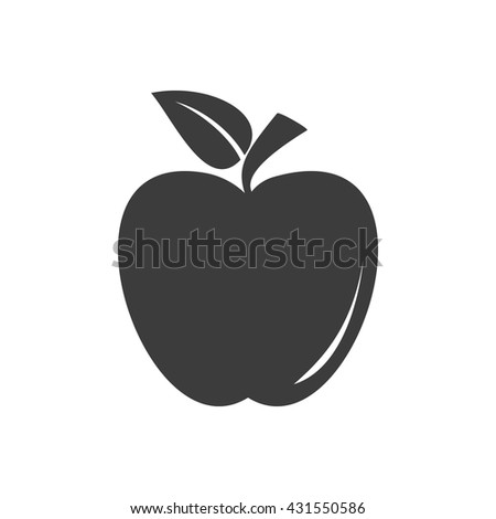 Apple icon. Apple Vector isolated on white background. Flat vector illustration in black. EPS 10
