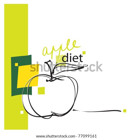 apple icon, design, freehand drawing (vector)