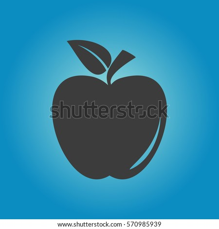 Apple icon. Flat vector illustration in black on white background. EPS 10