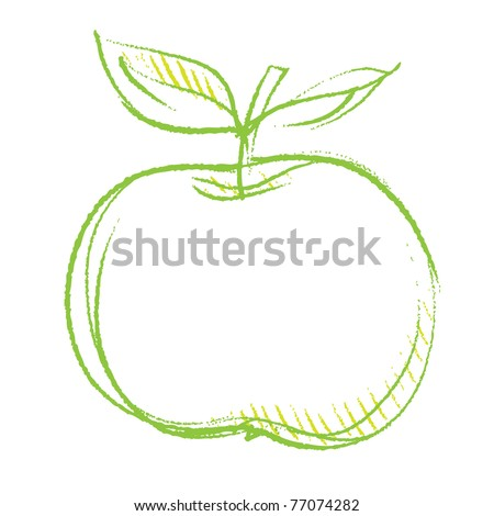 apple icon, freehand linear drawing vector