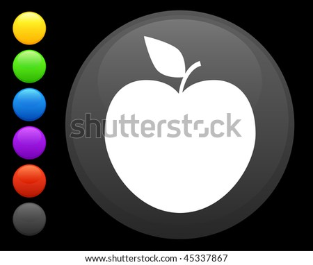 apple icon on round internet button original vector illustration 6 color versions included