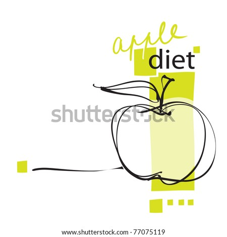 apple icon, page layout, freehand drawing vector