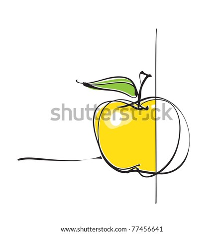 apple icon, part colored - part not (vector)
