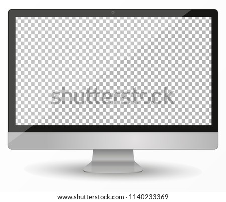 Apple Imac computer, desktop pc vector mocup. monitor display with blank screen isolated on transparent background. Vector