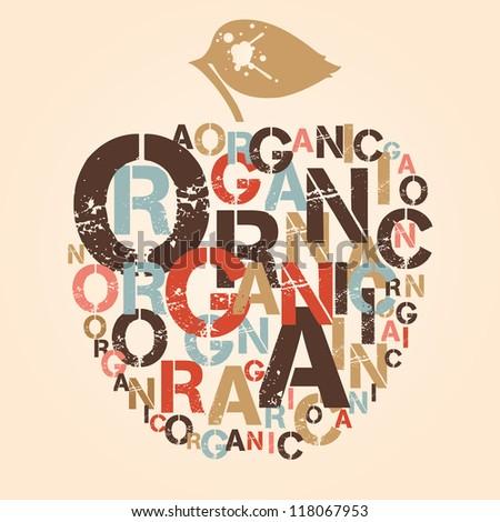 Apple is symbol of organic food. Bookplate. Exlibris