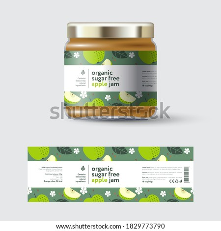 Apple Jam label and packaging. Jar with cap with label. White strip with text and on seamless pattern with fruits, flowers and leaves.