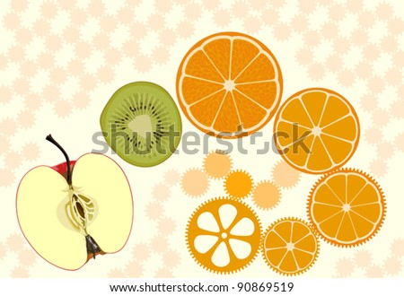 Apple, kiwifruit and orange slices presented as live clockwork cogwheels.