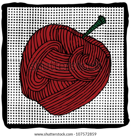 apple label on pattern background
