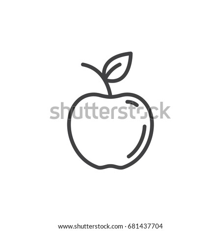 apple line icon  outline vector