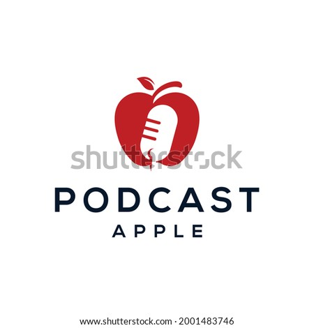 Apple logo design with podcast negative space