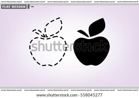 apple logo white vector. apple logo icon vector eps 10, abstract sign fruit flat design, illustration modern isolated white
