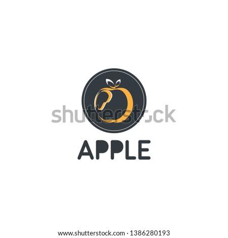 apple logo with blue orange