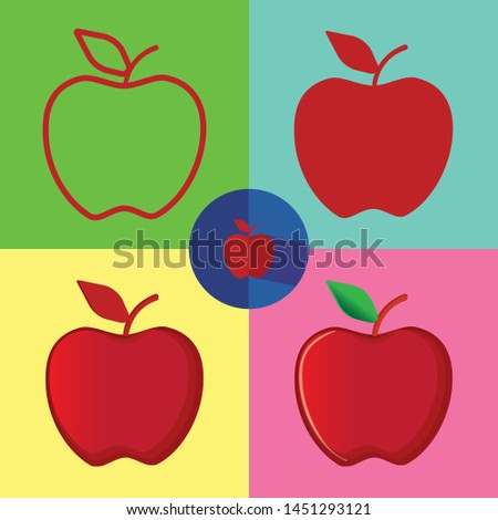 apple logo with 5 types  lines