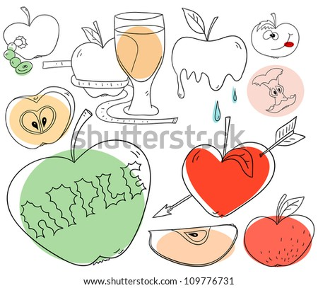 Apple objects are isolated on a white background