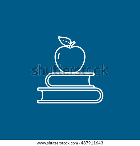 apple on book line icon on blue