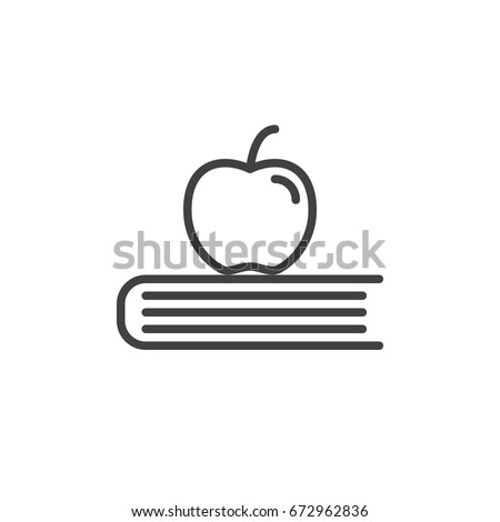 Apple on book line icon, outline vector sign, linear style pictogram isolated on white. School, education symbol, logo illustration. Editable stroke