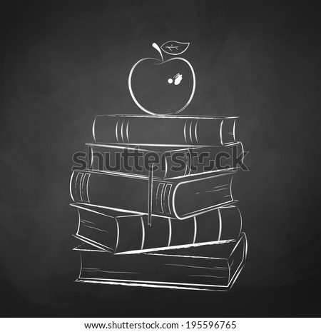 apple on books chalkboard