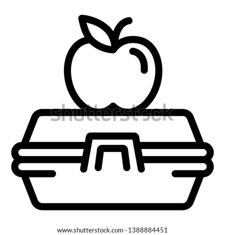 Apple on lunchbox icon. Outline apple on lunchbox vector icon for web design isolated on white background