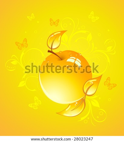 Apple on yellow background