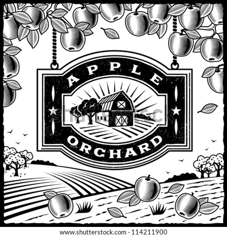 Apple Orchard black and white. Editable vector illustration.
