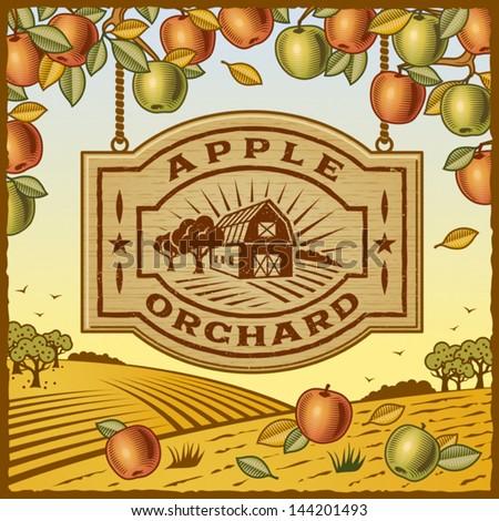 apple orchard. fully editable...
