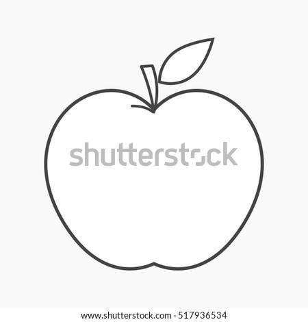Apple outline shape icon. Vector illustration