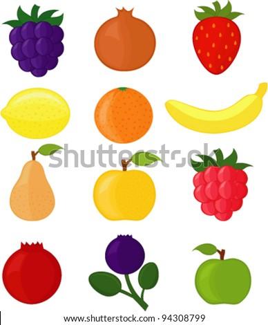 Apple, pear, banana, lemon, raspberry, blackberry, strawberry, bilberry, cranberry, orange and pomegranate (Set of vector illustrations)