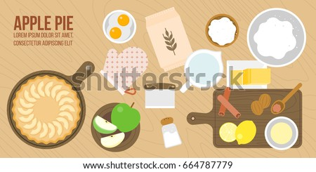 apple pie and ingredients, utensils in aerial view such as rolling pin, apple, nutmeg, cinnamon, wooden tray plate, lemon juice, sugar,flat design for cover, banner or poster