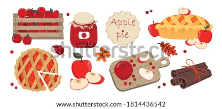 Apple PIE set: pie cut on top, pie with apples, cutting Board, apples in a box, Apple slices, cinnamon. Vector, white background, isolated.
