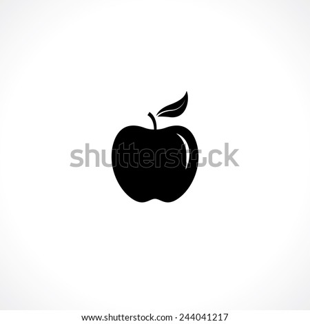 apple symbol. black silhouette isolated on white