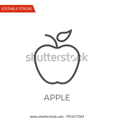 Apple Thin Line Vector Icon. Flat Icon Isolated on the White Background. Editable Stroke EPS file. Vector illustration.