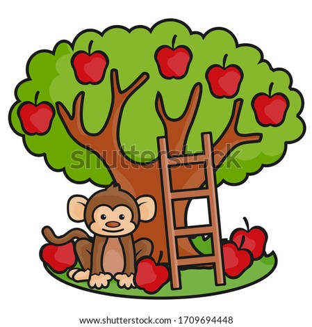 apple tree  a ladder and monkey'