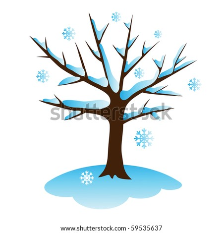 apple tree in winter vector