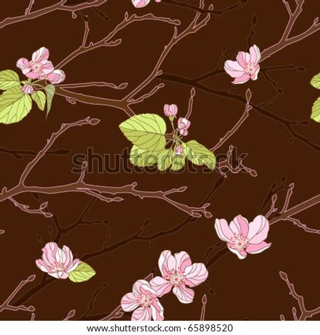 Apple tree seamless background