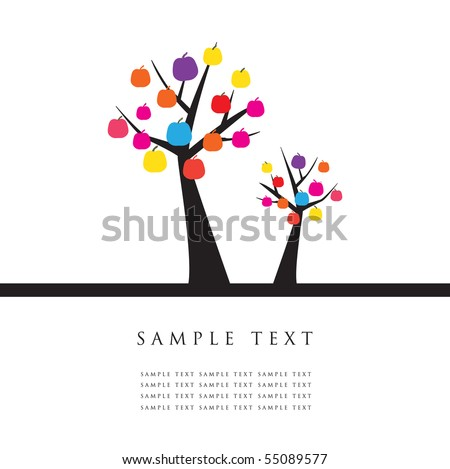 Apple trees. Design for greeting card