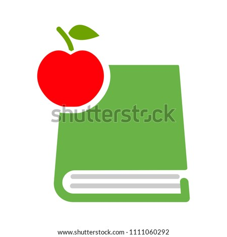 Apple with book icon - school education concept, library symbol isolated