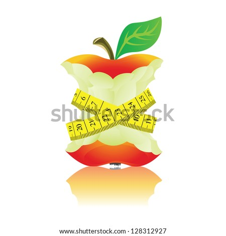 Apple with measure tape. Illustration on white background.